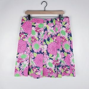 Lilly Pulitzer Size 10 Pink Floral Pleated Skirt